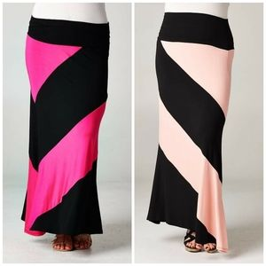 Pink Black Peach Color Block Maxi Skirt